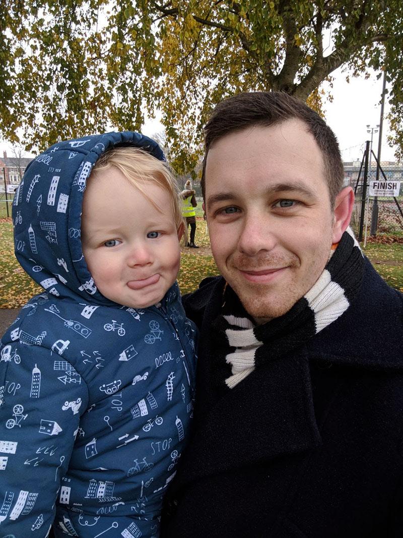 Oscar and Dan spectating at Northampton parkrun