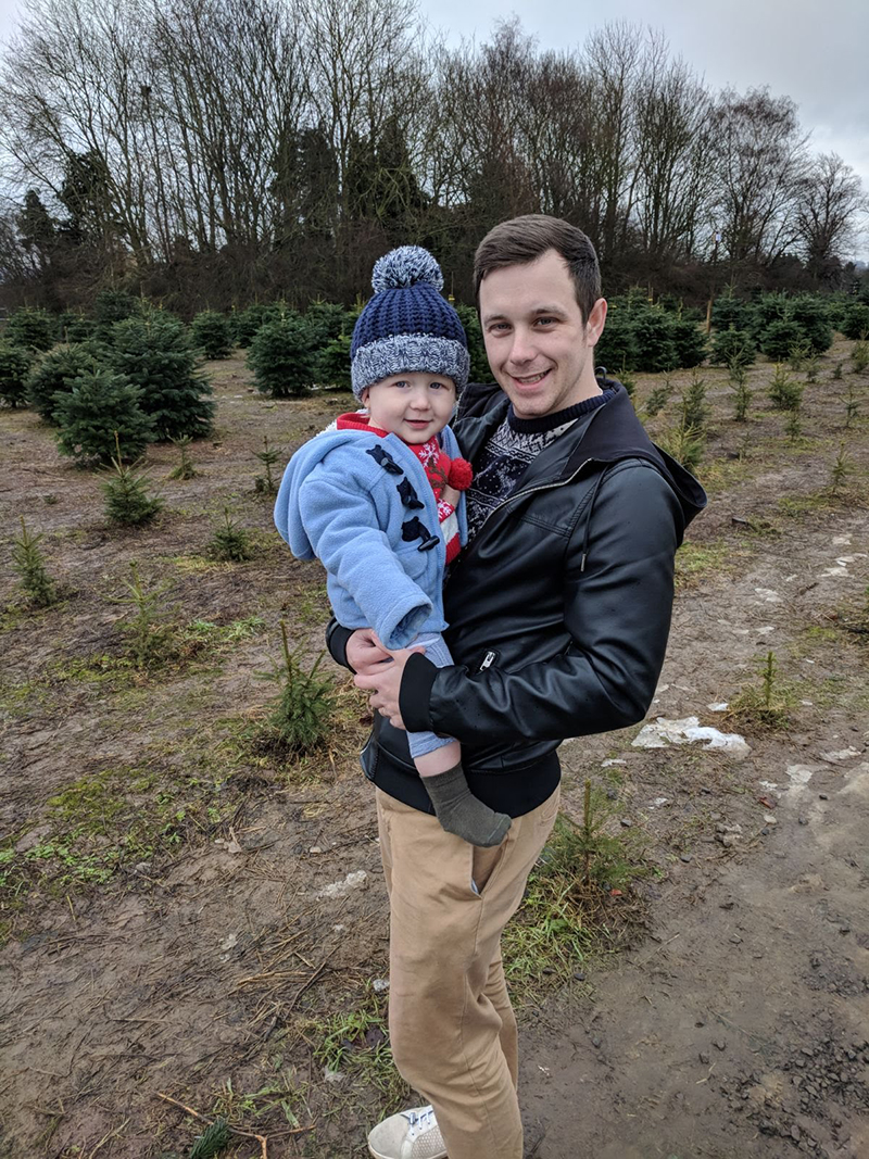 Dan and Oscar at the Christmas tree farm