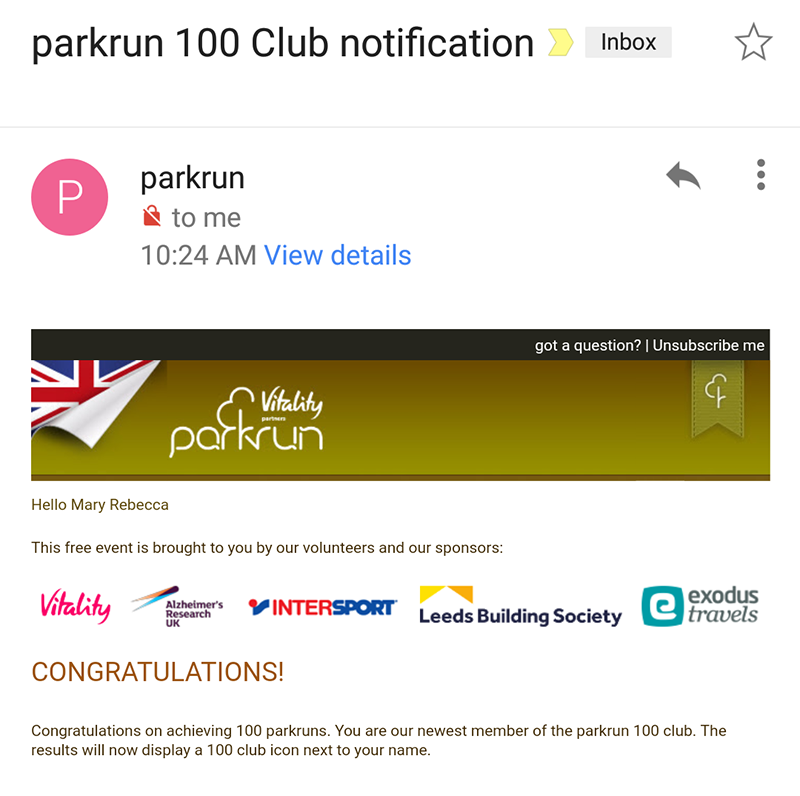 100 parkrun notification