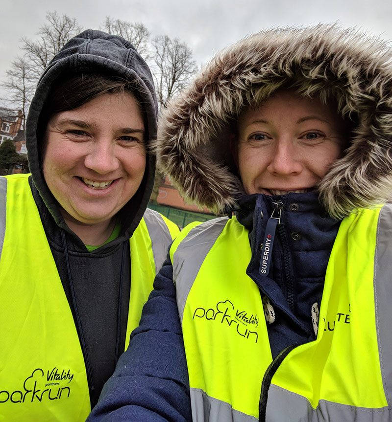 Laura and I volunteering at Northampton parkrun