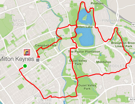 Strava map of MK Running Festival half marathon