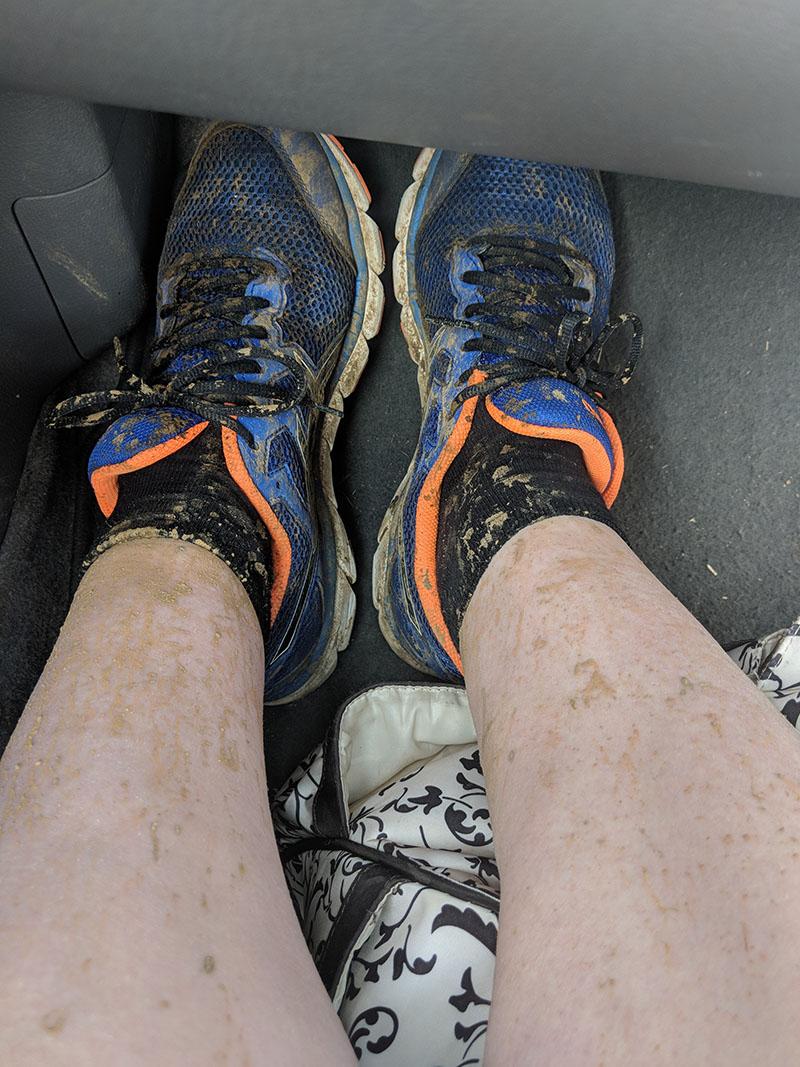 Muddy legs after Sixfields Upton parkrun