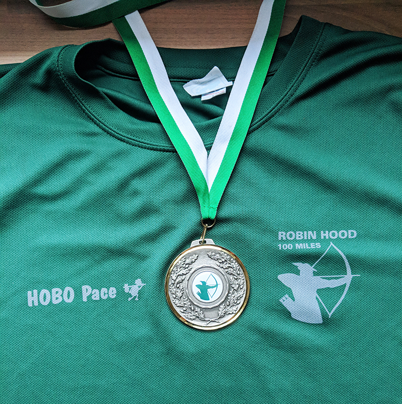 Robin Hood 100 medal and t-shirt
