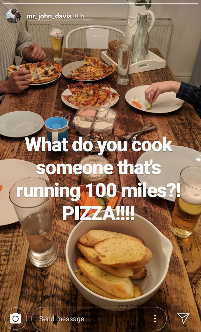 All the pre-race pizza at John's house