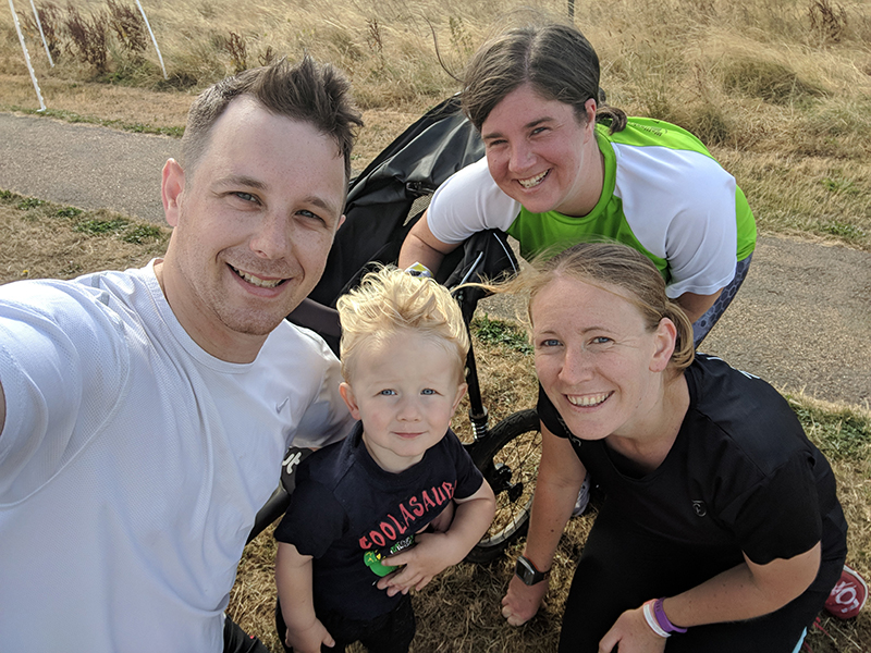 Dan, Oscar, Laura and I at Sixfields Upton parkrun