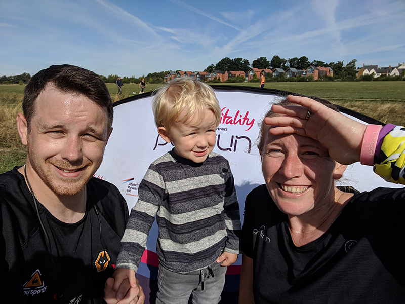 Dan, Oscar and I at Sixfields Upton parkrun