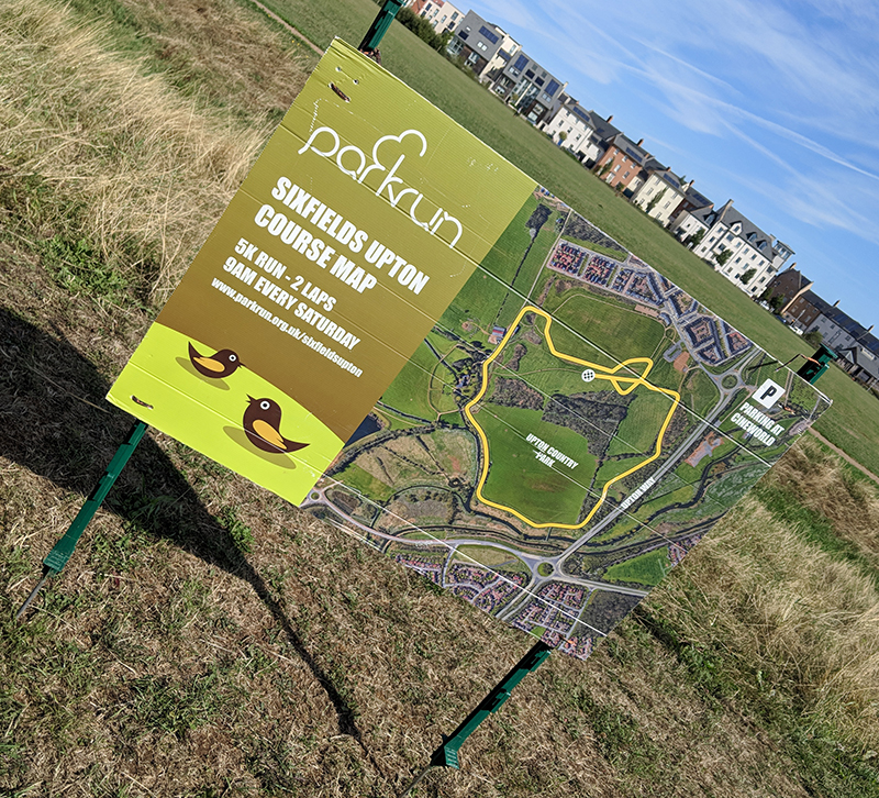 Sixfields Upton parkrun course sign
