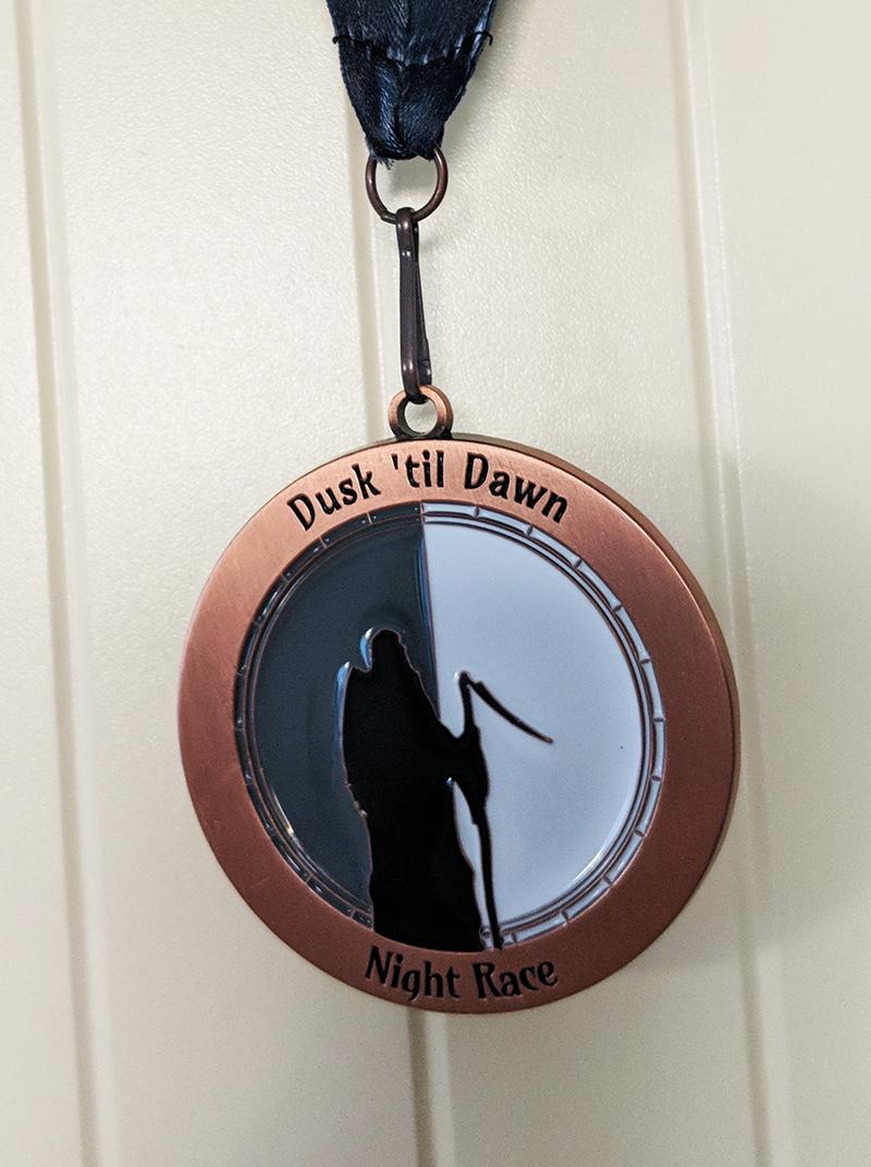 Dusk 'til Dawn marathon medal