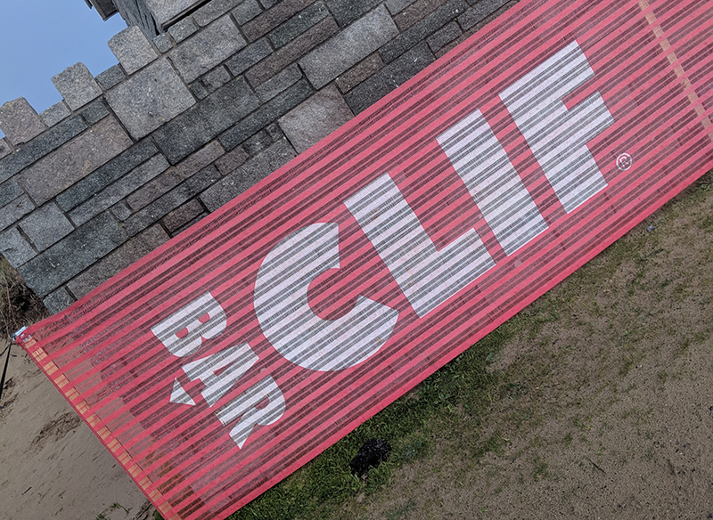 Clif Bar banner at EnduranceLife Gower marathon