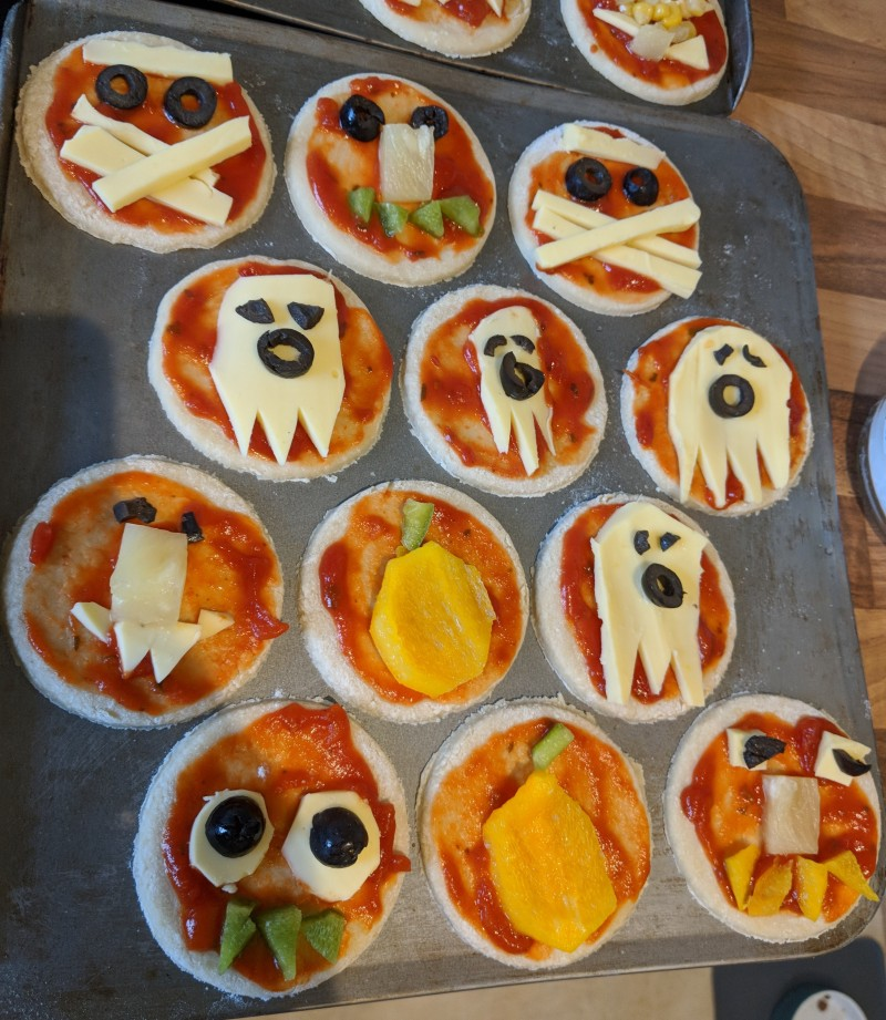 Mini pizzas at our Halloween party