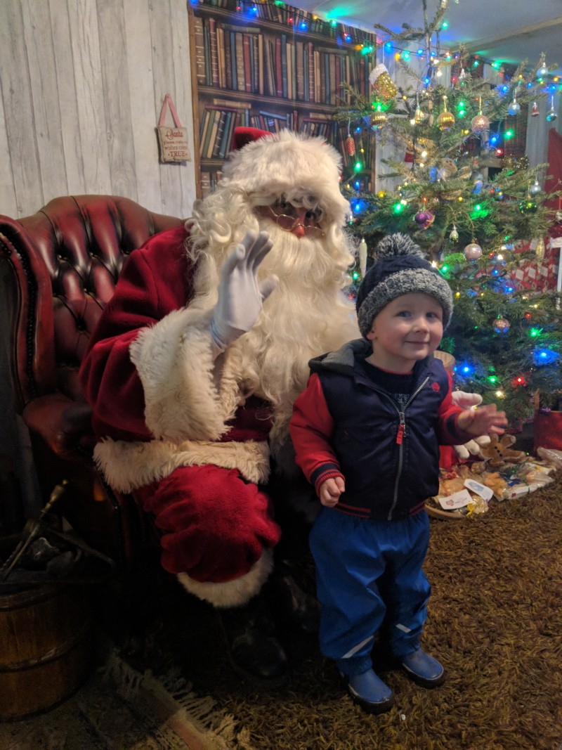 Oscar meeting Santa at West Lodge Farm Park