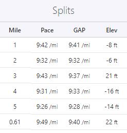 tempo run splits