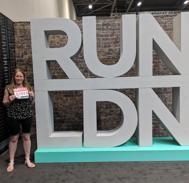 Run LDN sign at the London Marathon expo