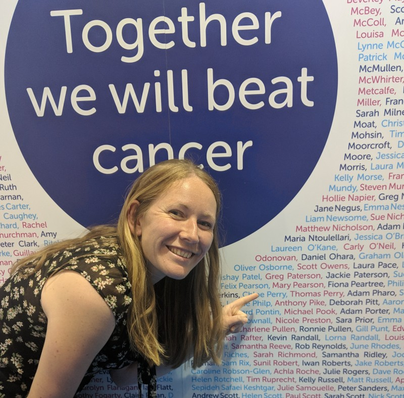 Mary Pearson on the Cancer Research UK stand at the London Marathon Expo