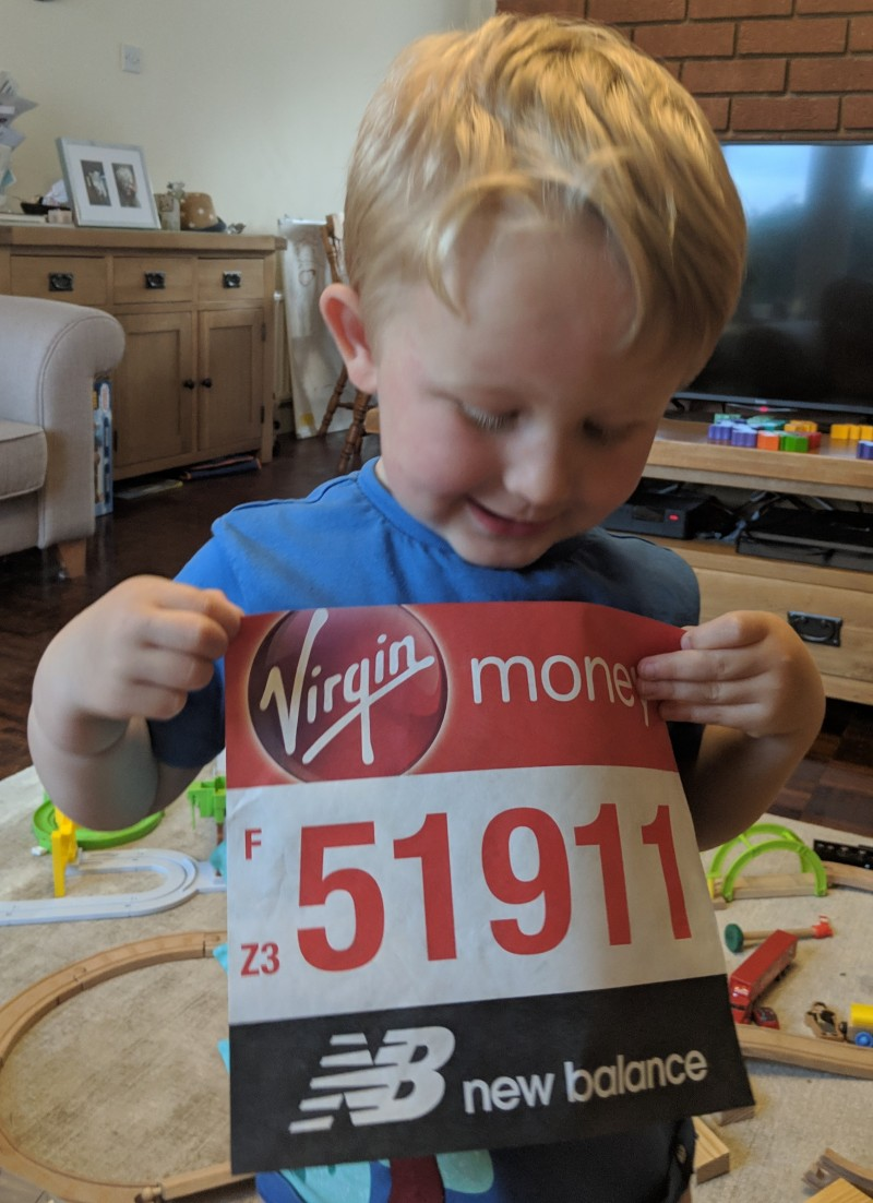Oscar wearing my London Marathon number