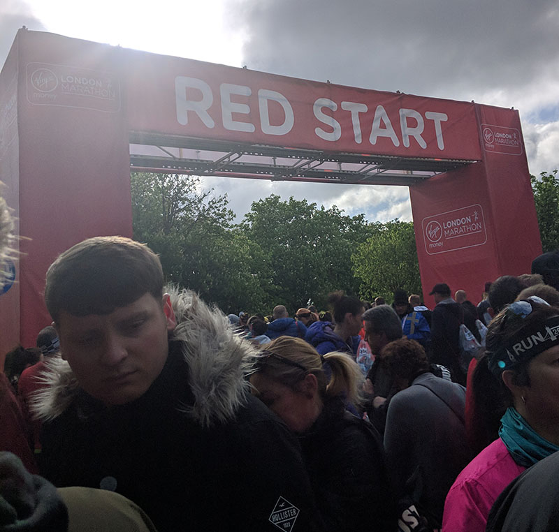 Walking to the Red start at the London Marathon