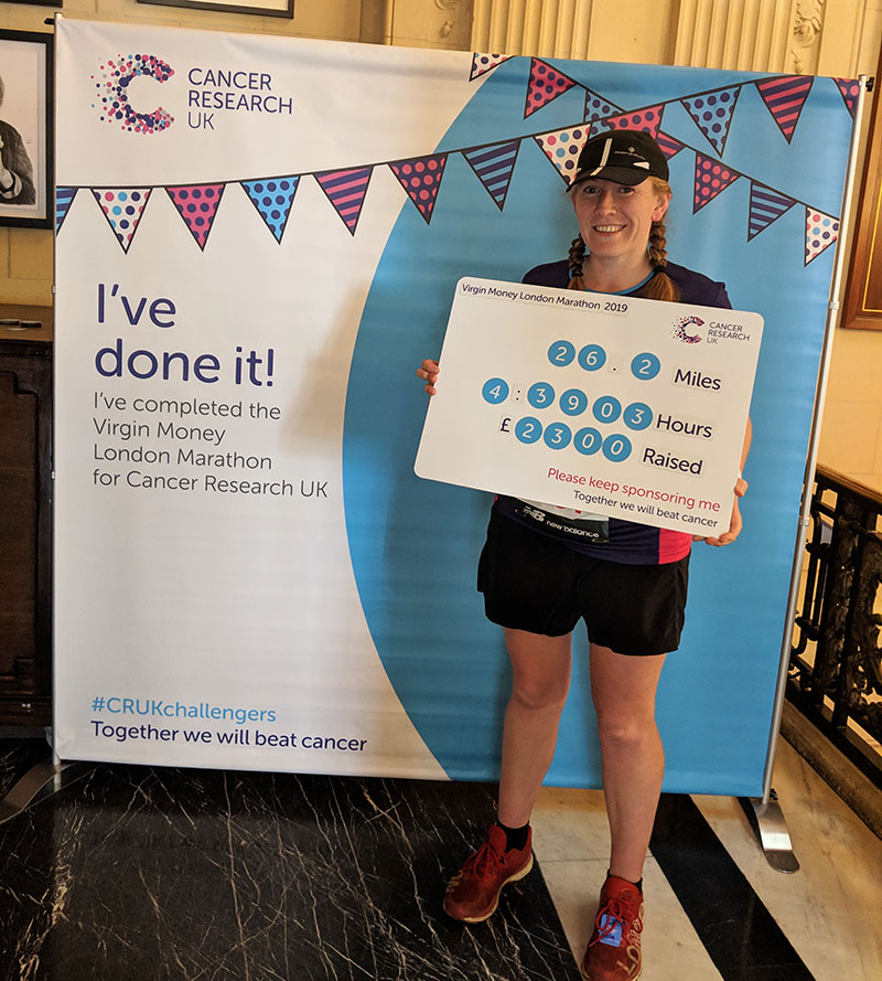 Raising money for Cancer Research UK at the London Marathon